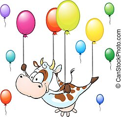 funny cow flying with colorful ball