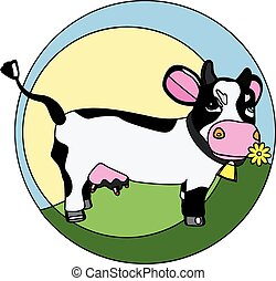 funny cow on the grass logo