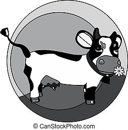 funny cow on the grass monochrome l