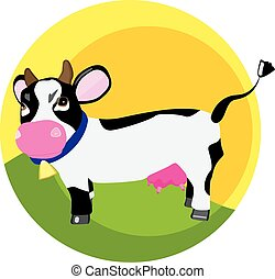 funny cow on the grass