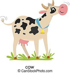 Funny cow or calf vector illustration Farm animals