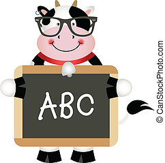 Funny Cow Teacher - Scalable vectorial image representing a...
