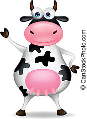 Funny cow waving - Vector illustration of funny cow waving