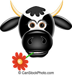 Funny cow with a flower in teeth.