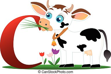 Funny cow with alphabet letter C
