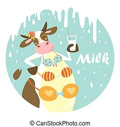 Funny cow with glass of milk