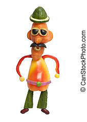Funny cowboy in hat made of vegetables