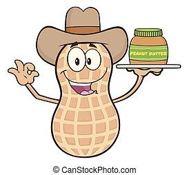 Funny Cowboy Peanut Character