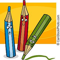 funny crayons cartoon illustration