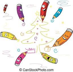 funny crayons cartoon paint Christm