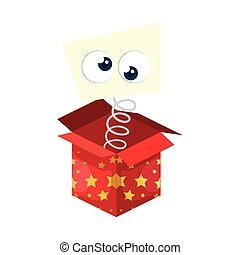 funny crazy eyes in box surprise isolated icon