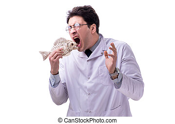 Funny crazy professor paleontologyst studying animal skeletons i