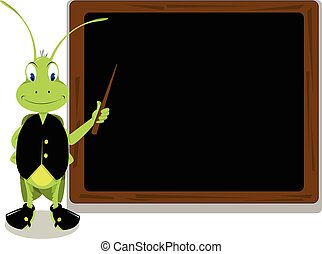 funny cricket pointing a blackboard