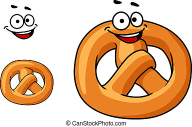 Funny crispy golden pretzel with a happy smile and the traditional knotted shape, cartoon illustration