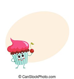 Funny cupcake character with pink cream topping, cartoon...