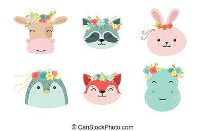 Funny cute animal faces with floral wreaths vector illustration