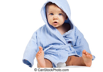 Funny cute baby boy isolated on white background