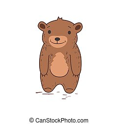 Funny cute bear character standing. Flat vector illustration. Isolated on white background.