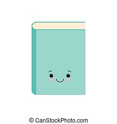 Funny cute book character, cartoon vector illustration isolated on white background.