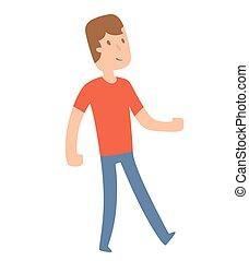 Funny cute boy walking
