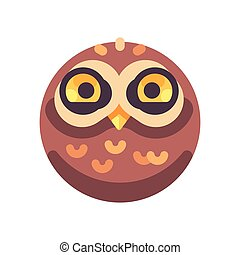 Funny cute brown owl face flat icon