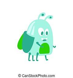 Funny cute cartoon funny midge colorful character vector...