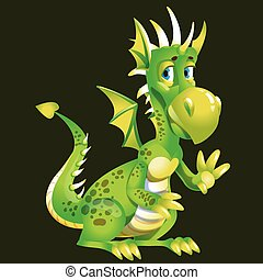 Funny cute cartoon green dragon greets with a paw. Character from a fairy tale or a legend. Vector illustration.