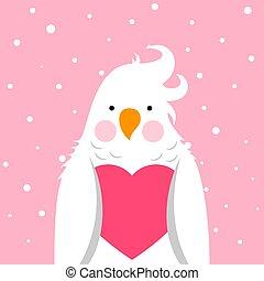 Funny, cute cartoon parrot. Love, valentinesday illustration.