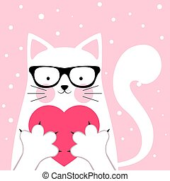Funny, cute cat. love illustration.