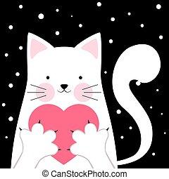 Funny, cute cat. Love illustration