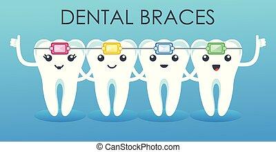 Funny cute characters teeth in braces. Pediatric dentistry