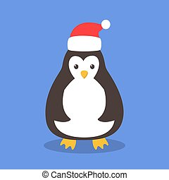 Funny cute christmas penguing in santa hat