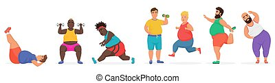 Funny cute chubby fat man characters set doing gym workout exercises. Sport fitness big people vector illustration.