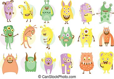 Funny cute colorful monsters characters set vector illustrations