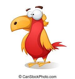 Funny, cute, crazy - cartoon bird.