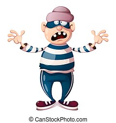 Funny, cute, crazy cartoon thief characters. - Funny, cute, ...