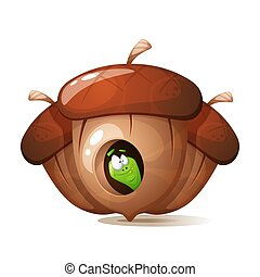 Funny, cute, crazy cartoon worm. Nuts illustration.