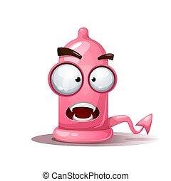 Funny, cute, crazy condom illustration. Devil smiley