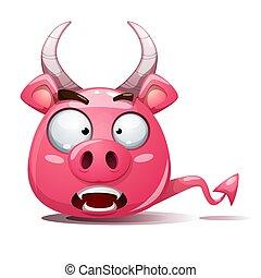 Funny, cute, crazy pig icon. Devil smiley. Symbol of 2019.