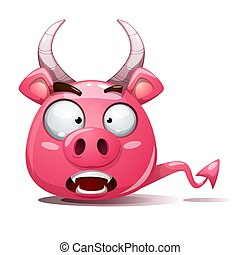 Funny, cute, crazy pig icon. Devil smiley. Symbol of 2019.