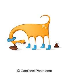 Funny, cute dog cartoon.