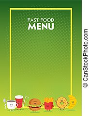 Funny cute fast food burger, soda, french fries, croissant, donut drawn with a smile, eyes and hands. Kids restaurant menu cardboard character