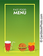 Funny cute fast food burger, soda, french fries drawn with a smile, eyes and hands. Kids restaurant menu cardboard character