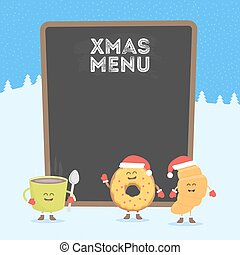 Funny cute fast food coffee, croissant and donut drawn with a smile, eyes and hands. Christmas and New Year winter style. Dressed in Santa hat and warm gloves