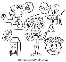 funny cute food cartoon