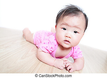 funny cute girl baby face close up