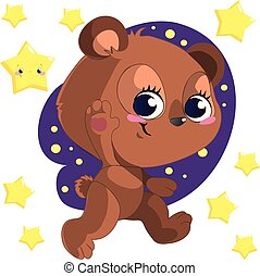 Funny cute go bed cartoon bear clipart vector with stars
