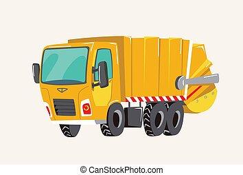 Funny cute hand drawn cartoon vehicles. Bright cartoon garbage truck, fire engine, Vector illustration