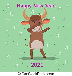 funny cute happy bull fun dancing. new year symbol of 2021. isolated image. Vector graphics.