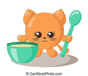 Funny cute kawaii cat with round body, spoon and bowl in flat design with shadows